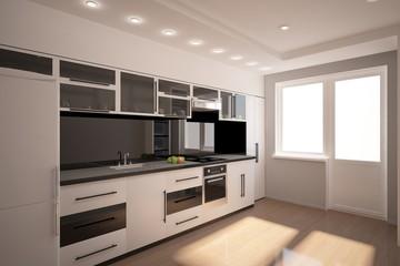 white 3d kitchen