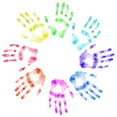 Color print of human hands