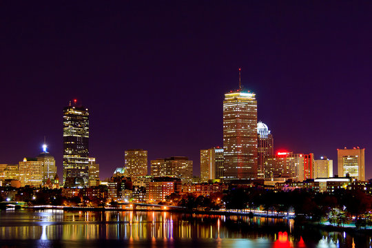 Boston Skyline from the Charles River at Night