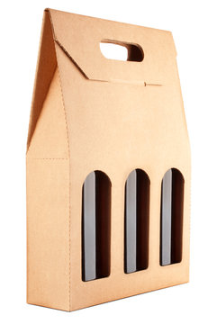 cardboard pack with three bottles of wine