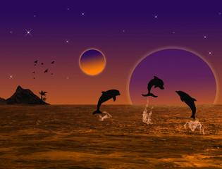 Tuinposter Dolfijnen Beautiful landscape on sunset
