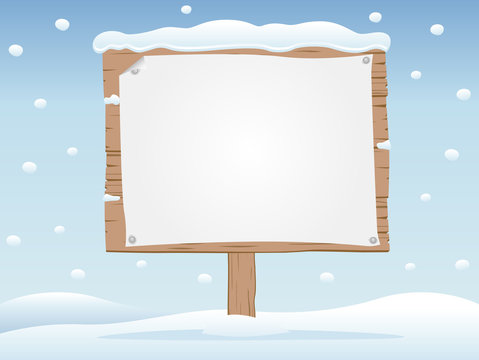 wooden signboard in snow  1