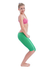 Women in  bodyweight squat pose while exercising
