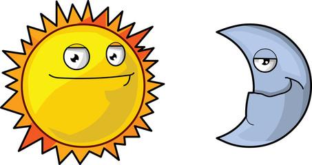 Sun and moon vector illustration.