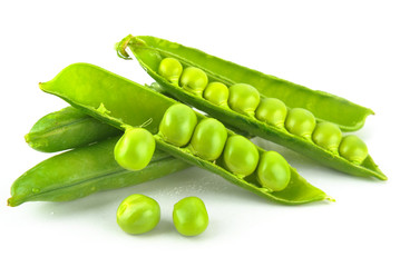 pods peas on a white background