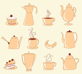 Collection of teapots, cups with coffee, cakes and croissants