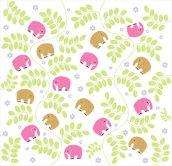 vintage garden and baby Elephants