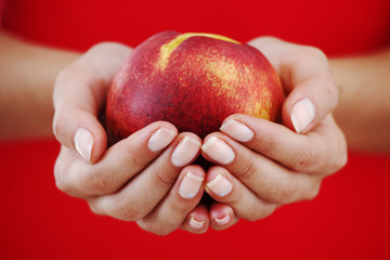 peach in woman hands