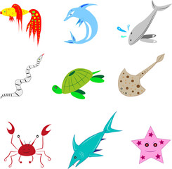 Various sea animals.