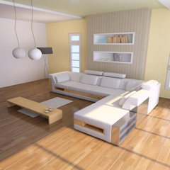modern living room 3d render