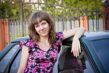girl near a car