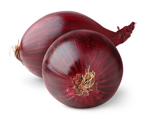 Isolated onions. Two red onion bulbs isolated on white background