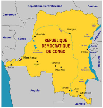 Carte de la République démocratique du Congo