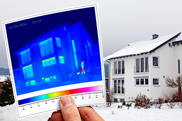 modern one-family house and thermal imaging with woman and cat
