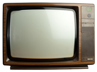 vintage tv isolated on a white background