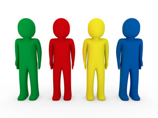 3d human team blue red green yellow
