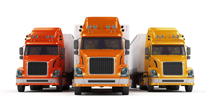 Some trucks presentation isolated on white