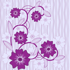 vector background with blue and violet  flowers