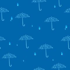 vector seamless blue texture with umbrellas