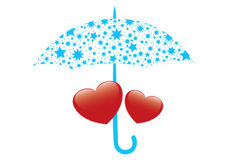 vector illustration of red hearts and umbrella