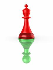 Conceptual image of false leadership. Chess. 3d