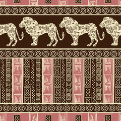 African style seamless background with lions
