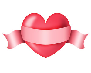 Red heart with a ribbon for inscription