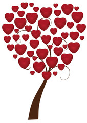 vector tree with red hearts