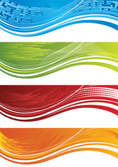 Set of four colourful halftone banners