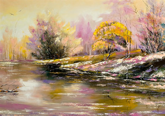 Autumn landscape with snow and the river