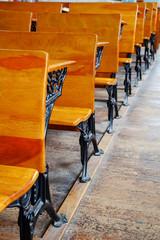 Row of old school desks