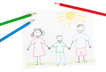 Children's drawing of happy family and pencils