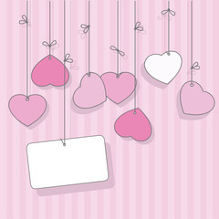 Pink greeting card for Valentine's Day