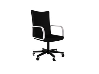 Black leather office chair. 3D rendering
