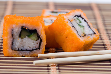 Traditional japanese sushi and rolls
