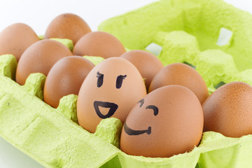 Eggs with smiley faces