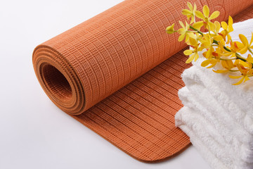 Yoga Mat with Towel and Orchid