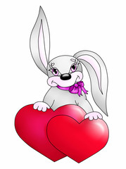 Rabbit with two hearts