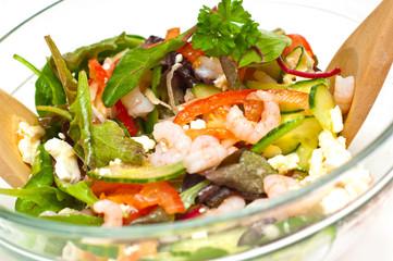 Prawn salad. Mixed greens, cucumber, feta, cheese and tomatoes.