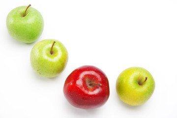 red and green apples, isolated