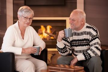 Happy senior couple on winter night at home