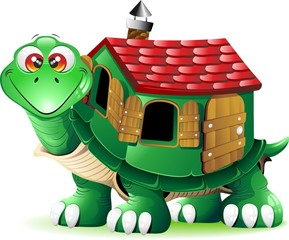 Tartaruga con Casa Cartoon-Turtle Cartoon with House-Vector