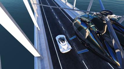 ヘリコプターとスポーツカー