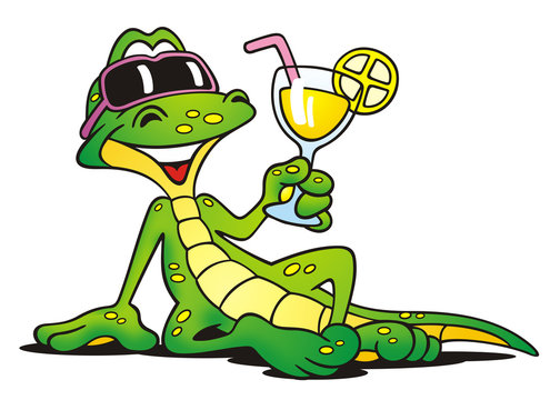 Lizard with Cocktail