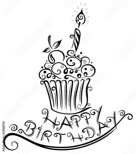 muffin geburtstag happy birthday vector schwarz. Black Bedroom Furniture Sets. Home Design Ideas