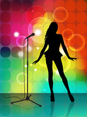 Abstract music background with singer