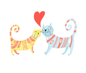Printed kitchen splashbacks Cats Cats in Love