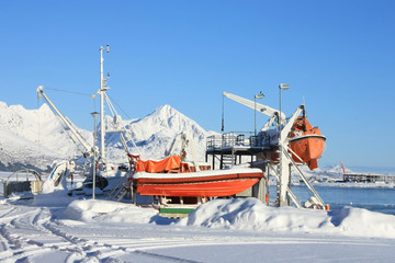 safety boats on the snow