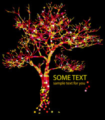 red tree and text
