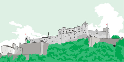 Painted image of Hohensalzburg Fortress in Salzburg